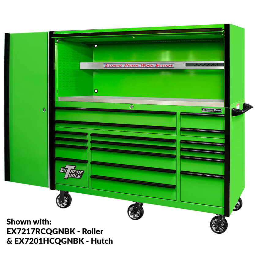 EX2404CSQGNBK Side Locker - Shown with EXQ 72inch Roller and Hutch Combo - Green Black