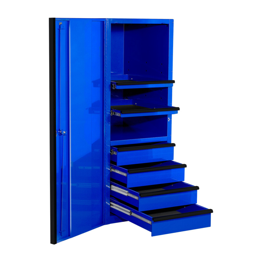 EXQ Series 24x30 in. 4 Drawer and 2 Shelf Pro Side Cabinet Blue w Black Handles - EX2404SCQBLBK-OPEN