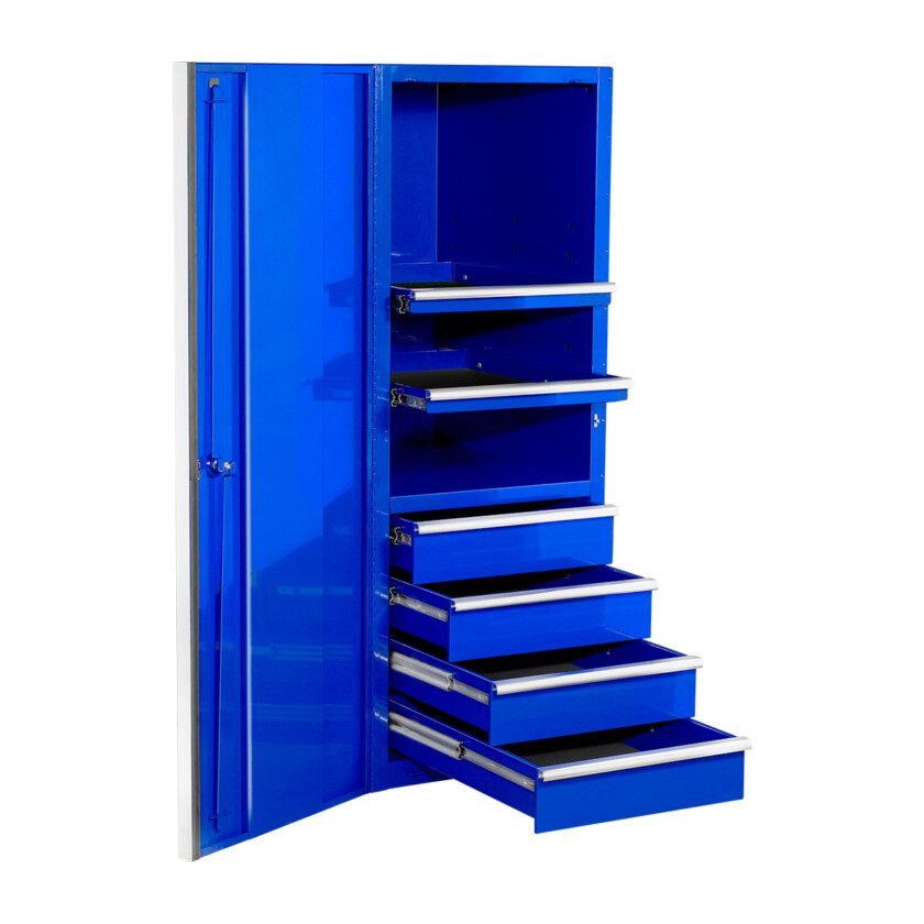 EXQ Series 24x30 in. 4 Drawer and 2 Shelf Pro Side Cabinet Blue w Chrome Handles - EX2404SCQBLCR-OPEN