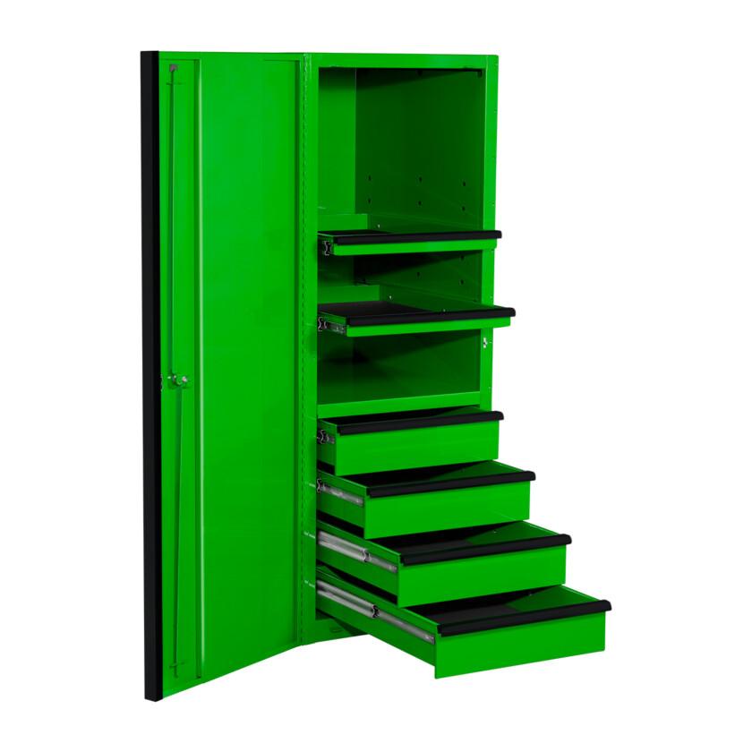 EXQ Series 24x30 in. 4 Drawer and 2 Shelf Pro Side Cabinet Green w Black Handles - EX2404SCQGNBK-OPEN